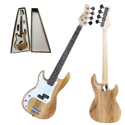 Glarry GP Left-Handed Electric Bass Guitar with Cord Wrench Tool Natural Color