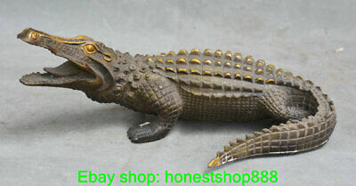 "9.6"" Old Chinese Bronze Feng Shui Animal Lacoste Alligator crocodile Statue"
