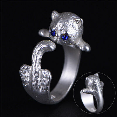 Women Silver Plated Lovely Cat Adjustable Open Ring Animal Fashion Retro~S*