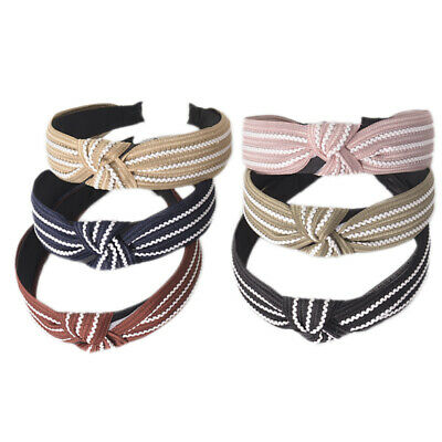 Ladies Wide Tie Hairband Headband Knot Stripe Alice Band Hair Hoop Accessories