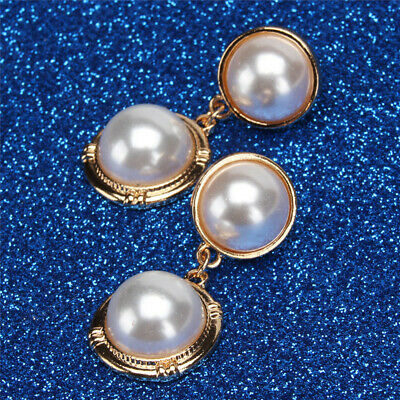 Double Women Faux Pearl Earrings Silver Gold Plated Round Studs Ball Dangle C