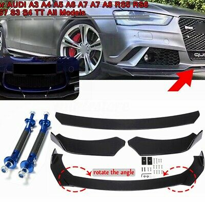 Front Bumper Lip Splitters & Lip Rod Struts For AUDI A3 A4 A5 A6 A7 A7 A8 Q3 Q5