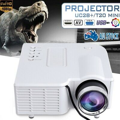 White Mini Projector Full HD 1080P Video LCD Home Cinema Theater HDMI SD USB AU