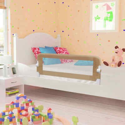 vidaXL Toddler Safety Bed Rail Taupe 120x42cm Polyester Kids Nursery Rails