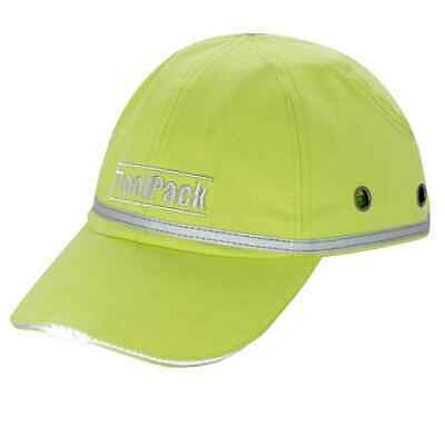 Toolpack LED Work Protective Cap Lime Green Safety Bump Head Helmet Protector