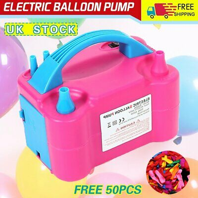 600W Electric Balloon Pump Inflator Air Blower Two Nozzle Party Portable UK Plug