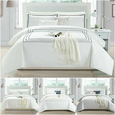 Embroidered Hotel Quality Quilt Bedding Single Double King Size Duvet Cover Set