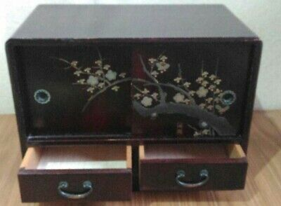 Lacquer Plum tree Tansu small chest of drawers Japanese antique mother of pearl