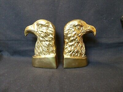 pair large messing mid century brass bookends eagle eagles regency hollywood 8/4