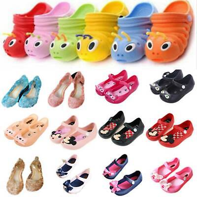 Children Kids Girls Cartoon Mickey Minnie Mouse Cat Sandals Jelly Shoes Size UK