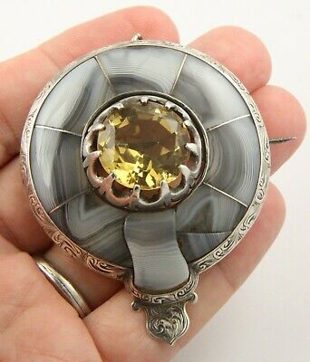 Superb large antique Victorian c1890 silver Scottish agate citrine brooch pin