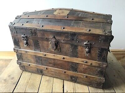 Vintage antique domed trunk cabin luggage steamer steampunk