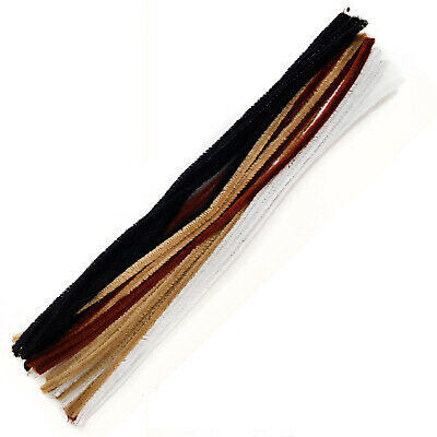 "30 Mixed Chenille Craft Stems Pipe Cleaners 30cm 12"" -  Brown Black and White"