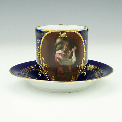 Antique Vienna Porcelain - Hand Coloured Pipe Smoker - Cabinet Cup & Saucer