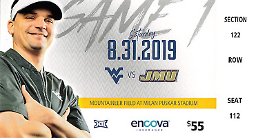 2019 West Virginia Mountaineers WVU Football Ticket Stub (Choose Any Game)