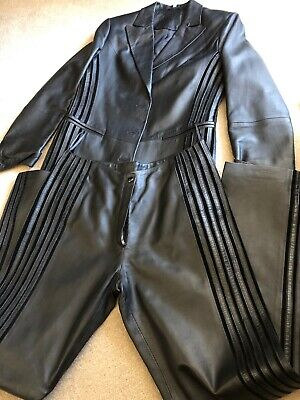 True Vintage 1990s Black Leather Trouser Suit By Adriano - Unused. Size 12
