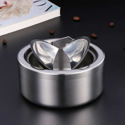 Ashtray Stainless Steel Modern Tabletop Ashtray with Lid Cigarette Ashtray