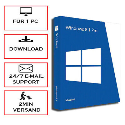 Win 8.1 Professional 1PC -> 5PC - Win 8.1 Pro ESD 32&64 Bits -Produkt per E-Mail
