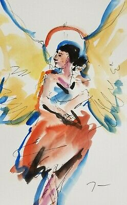 JOSE TRUJILLO Angel Modern Watercolor Painting Expressionism Abstract 6X9