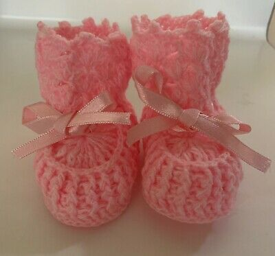 CROCHET BABY BOOTIES Baby Shoes Bunny Easter Cream Size