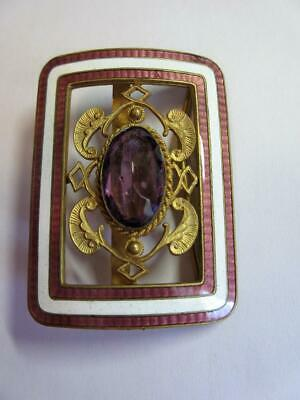 Vintage Art Deco Guilloche Enamelled Belt Buckle With Paste Amethyst Stone!