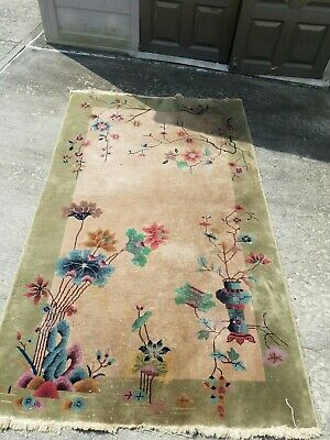 Antique Art Deco Chinese Asian Rug 5 × 8 MUST SEE - Local pickup Delivery only