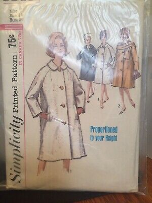 Early 60's Simplicity Sewing Pattern 5148 Size 14 Miss Coat & Scarf Cut