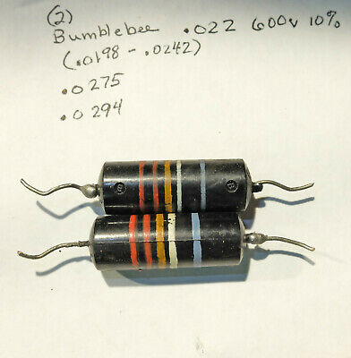 2 - Sprague Bumblebee .022 600v 10% PIO Capacitor Pulls - TESTED