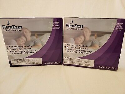 2 Boxes RemZzzs K1-FS CPAP Mask Liners Full Face Sz Small NIP NEW (30 per box)