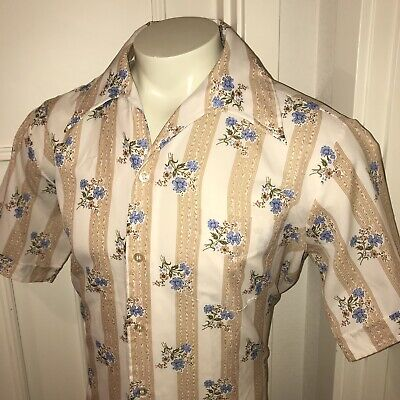 Groovy Vtg 60s 70s Studio One CAMPUS Mens LARGE Floral Mod Disco Shirt POLYESTER
