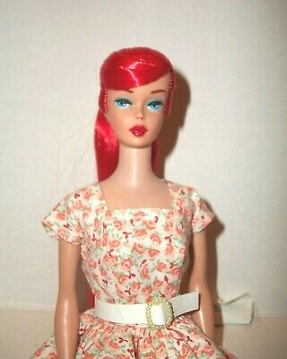 Vintage Swirl Barbie #4 Body With Red Color Magic Hair Reroot And Ooak Facepaint