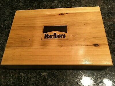 MARLBORO Poker Set w/ Original Wooden Storage Box ~ With Sealed Cards and Chips