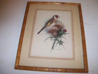 """""""Pretty Bird Sitting on a Thistle w/ FauxBamboo Frame-By 8 1/""""x10 1/2"""" By Gonner"""