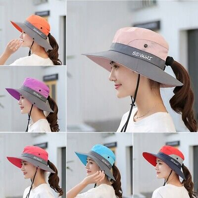 Bucket Hat Wide Brim Quick Drying Foldable Sunshade Sun Ponytail Cap With Strap