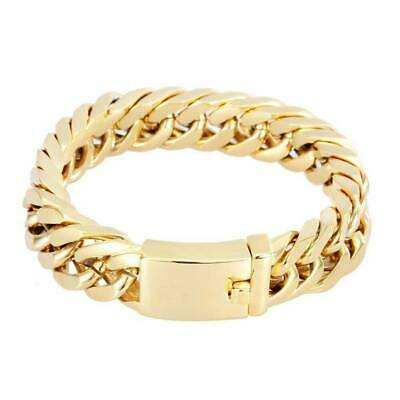 """14mm Mens Chain Curb Link Gold Tone Heavy Solid Stainless Steel Bracelet 8"""""""