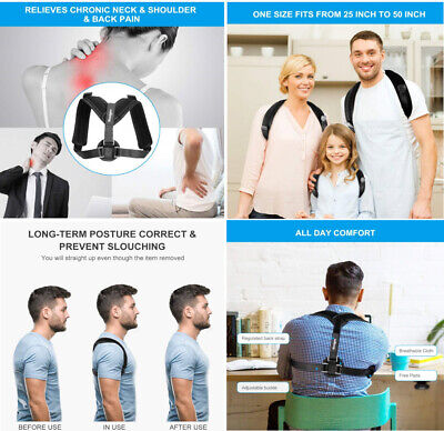 Back Posture Corrector Clavicle Support Slouching & Hunching-Upper Back/Relief..