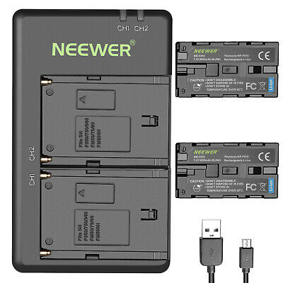 Neewer 2-Pack 6600mAh Li-ion Replacement Battery w/ USB Charger for Sony NP-F750