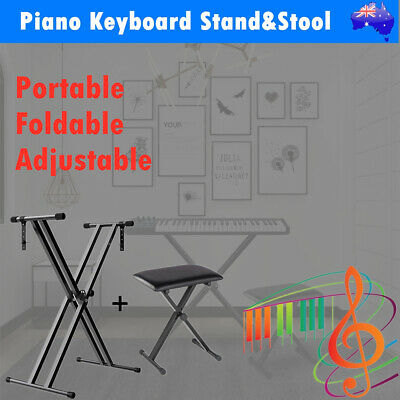 Adjustable Portable Keyboard Stand Piano Stool Seat Folding Bench Chair Seat SET