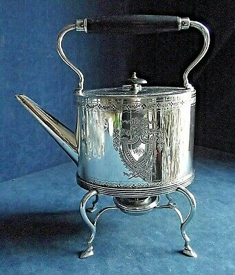 SUPERB ~ SILVER Plated ~ GEORGIAN Styled ~ Spirit KETTLE on Stand ~ c1880