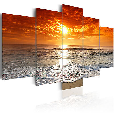 SEA SUNSET  NATURE Canvas Print Beach Framed Wall Art Picure Photo Image 051401
