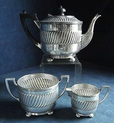 SUPERB ~ SILVER Plated ~ Fluted TEA SET ~ c1890 by Lee & Wigful