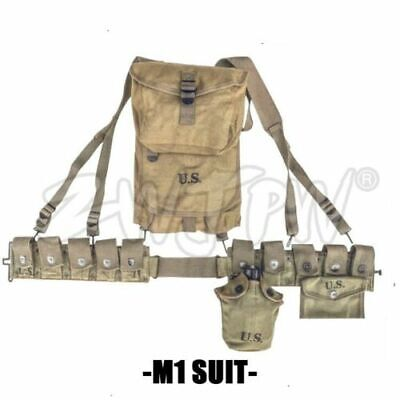 WWII US Army M-1923 Cartridge Collection 1943 M1928 Haversack Canteen Belt SET