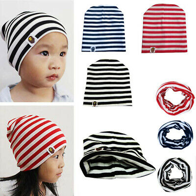 Unisex Baby Kids Children Toddler Infant Cotton Stripe Knit Hat Cap Scarf New