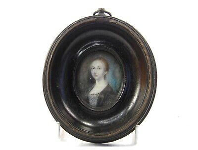 Antique early 19th century Georgian portrait miniature painting of a lady