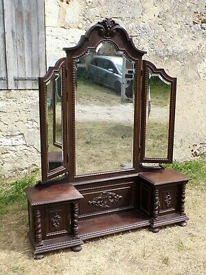 Hand Carved Cheval standing triple dressing mirror C1890