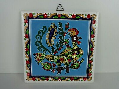 Handmade Tile Decorative Multi Coloured Bird Smaltotechniki Mochato Ceramics