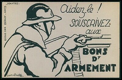 machine gun Protect France war bonds WWII ww2 anti nazi original 1940s postcard