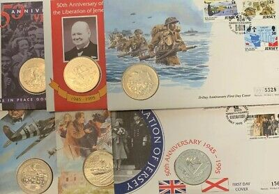 1994 - 95 Jersey Guernsey 50th Anniversary  £2 Two Pound Coin Cover + Stamps X 6