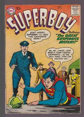 Superboy # 58  The Great Kryptonite Mystery !  grade 4.5 scarce book !