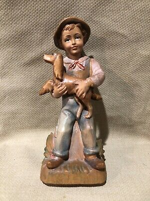 """Lang Oberammergau Germany Boy With Dog,  Wooden Hand Carved Figurine 6 3/4"""" Tall"""
